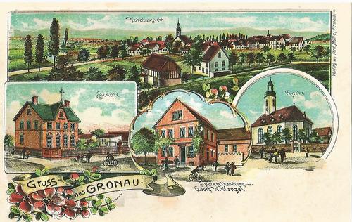 Alte Postkarte mit Zeichnungen von Gronau