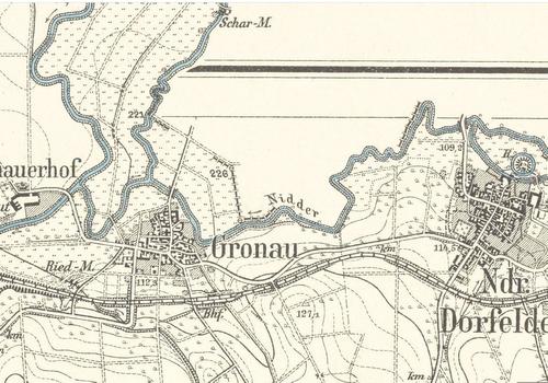 Alte Karte von Gronau