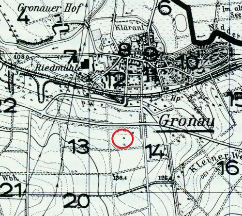Kartenausschnitt von Gronau mit Markierung