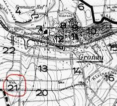 Karte mit markiertem Standort der Villa