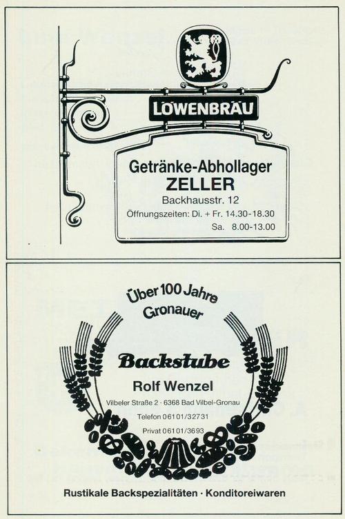 Werbeanzeige der Firmen Getränke Abhollager Zeller und Backstube Rolf Wenzel