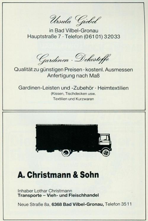 Werbung der Firmen Heimtextilien Ursula Giebel und Transportunternehmen A. Christmann & Sohn