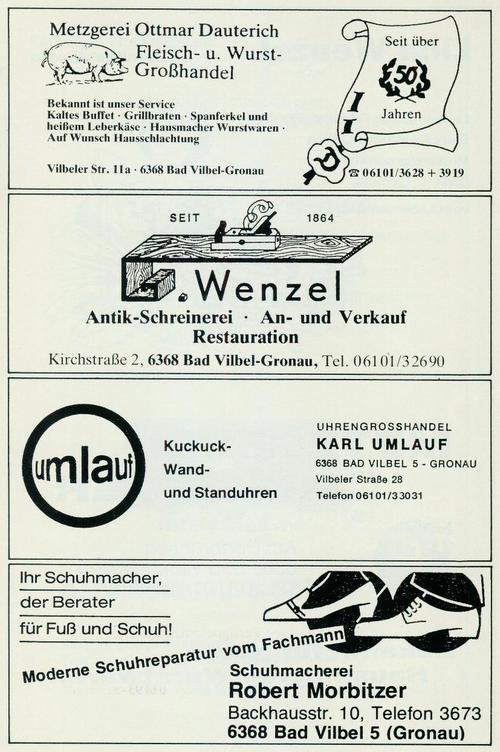 Werbung der Firmen Metzgerei Ottmar Dauterisch, Antik-Schreinerei G. Wenzel, Uhrengroßhandel Karl Umlauf und Schuhmacherei Robert Morbitzer