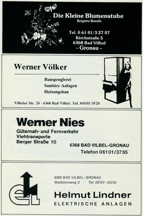 Werbung der Firmen Blumenstufe Brigitte Barufe, Bauspenglerei Werner Völker, Güterverkehr Werner Nies und Helmut Lindner Elektische Anlagen