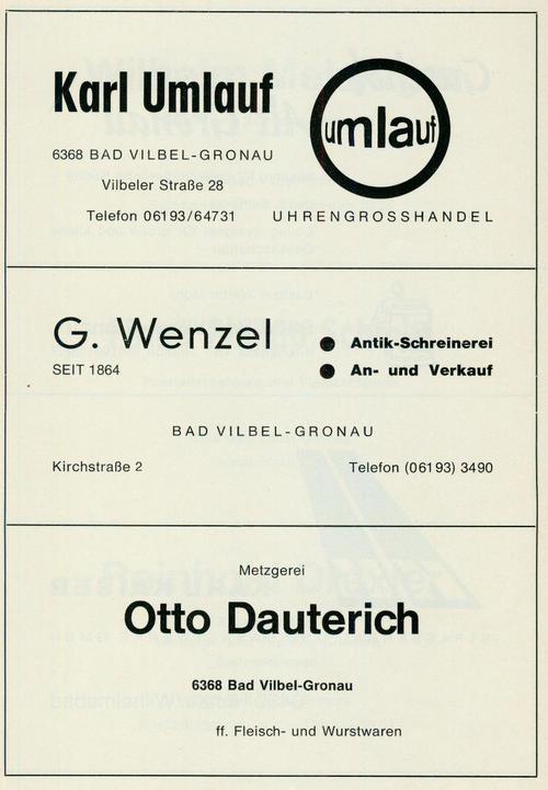 Werbeanzeige der Firmen Uhrengroßhandel Karl Umlauf, Antik-Schreinerei G. Wenzel und der Metzgerei Otto Dauterich