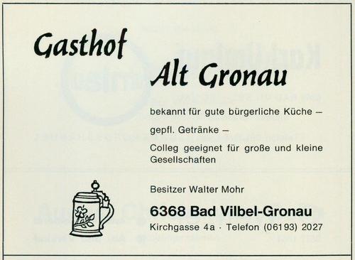 Werbeanzeige des Gasthofs Alt Gronau