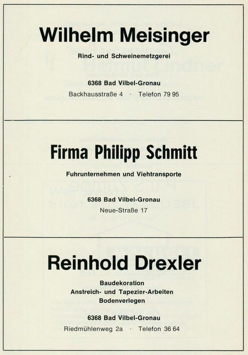 Werbeanzeige der Firmen Metzgerei Meisinger, Fuhrunternehmen Philipp Schmitt und Baudekoration Reinhold Drexler