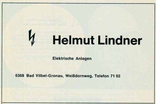Werbeanzeige der Firma Elektische Anlagen Helmut Lindner