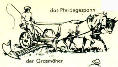 Zeichnung eines Pferdegespanns und eines Grasmähers