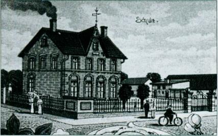 Zeichnung eines Backsteingebäudes