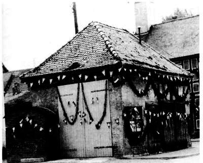 Geschmücktes Fachwerkhaus