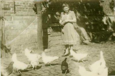 Frau mit Hühnern und Enten