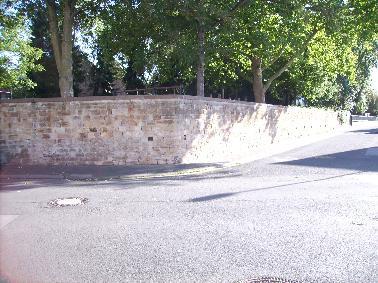 Mauer mit Baum dahinter