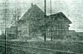 Altee Postkarte mit einem Zug und dem Fahrplan