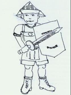 Zeichnung eines Ritters