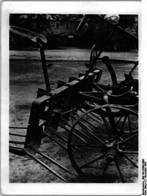 Schwarz-Weiß Foto eines Rübenroders
